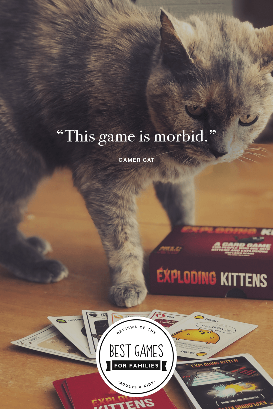 Exploding Kittens Game Review - Love this hilarious, easy to learn, strategic card game. #familygames #explodingkittens #gamenight *Loving this family website and board game suggestions